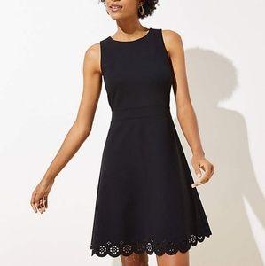 NWT ANN TAYLOR LOFT PONTE EYELET HEM  Black  DRESS
